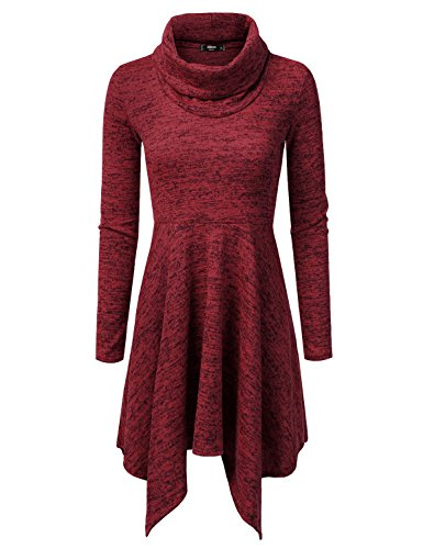 NINEXIS Womens Cowl Neck Long Sleeve Sweater Dress RED S