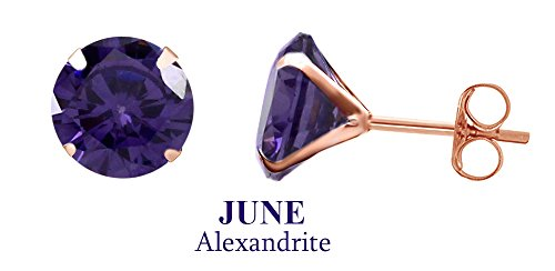 10k Rose Gold 4mm Round Simulated Alexandrite Stud Earrings