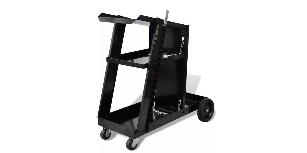 Workshop Organizer Welding Cart New Durable Hand Truck Black 3 Shelves K&A Company