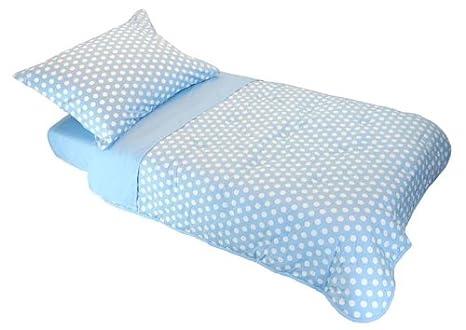 Tadpoles Dot and Stripe Toddler 4 Piece Bedding Set, Blue Sleeping Partners asttpd101