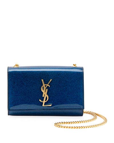 f7ec1d06202 Saint Laurent Kate Monogram YSL Small Glitter Patent Crossbody Bag made in  Italy (Blue)