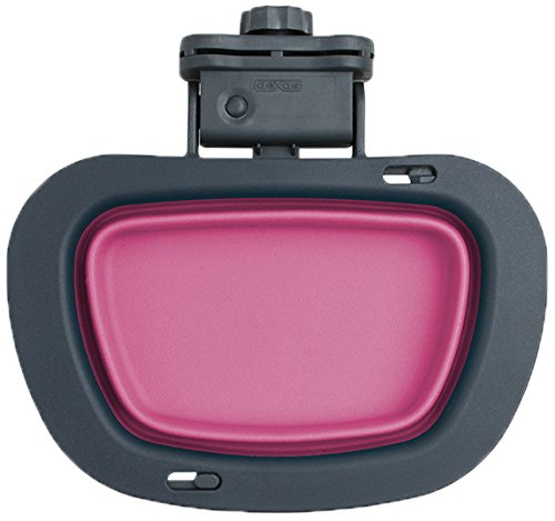 Dexas Popware for Pets Collapsible Rectangular Kennel Bowl, Large, Gray/Pink