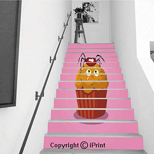 Stair Stickers Wall Stickers,13 PCS Self-Adhesive,Make Your Home Unique,Cute Happy Halloween Cupcake with Spider and Monster Eyes -