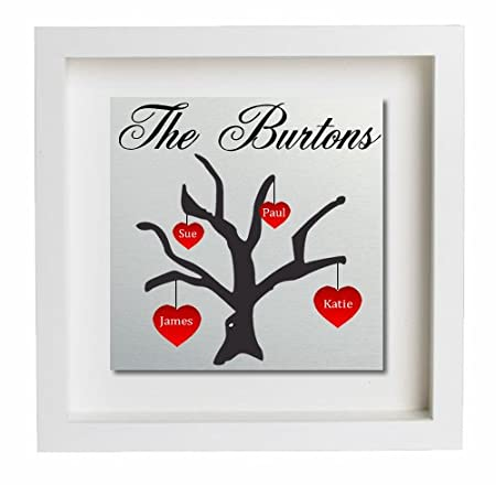 personalised family tree metal wall art box frame gift free uk