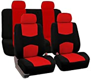 FH GROUP Universal Fit Full Set Flat Cloth Fabric Car Seat Cover, (Red/Black) (FH-FB050114, Fit Most Car, Truc