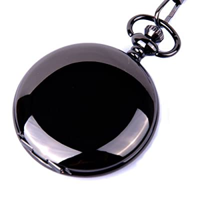ShoppeWatch Pocket Watch Quartz Movement Black Case White Dial Arabic Numeral with Chain Full Hunter PW23 from ShoppeWatch