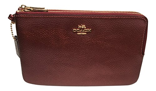 Coach BM02 Metallic Double Zip Wallet Wristlet Metallic Cherry F20146 (Metallic Cherry)