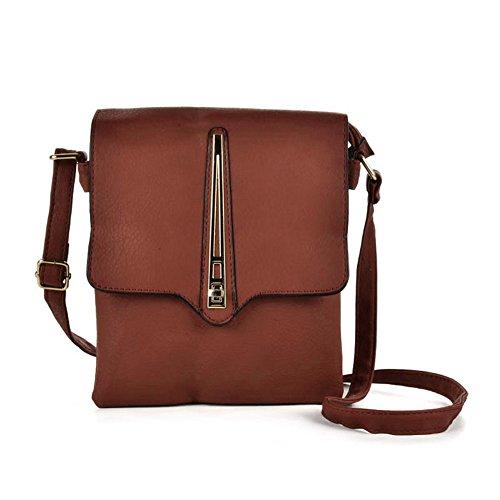 Bag Body High Fashion Women PU Metal Decoration Cross Quality Lock Brown Leather YOUNG SALLY PfFa7Wgx