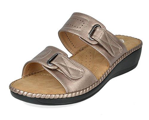 DREAM PAIRS Women's Truesoft_01 Gold Low Platform Wedges Slides Sandals Size 6.5 B(M) US