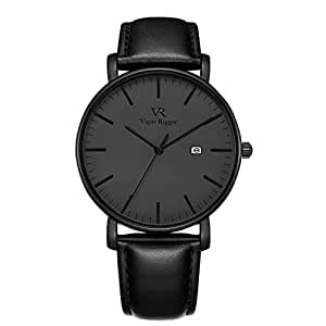 Vigor Rigger Men's Fashion Slim Quartz Date Wrist Watch with Black Leather Strap (Black)