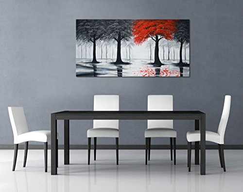 Everfun Art Hand Painted Large Black and Red Forest Oil Painting On Canvas Modern Contemporary Landscape Wall Art Stretched Abstract Tree Artwork for Living Room Framed Ready to Hang ( 60 x 30 inch) (Framed Canvas Paintings)