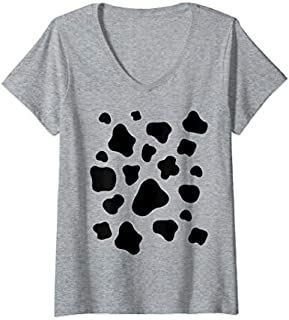 Womens Cow Print Pattern Animal Halloween Costume Idea Gift V-Neck T-shirt | Size S - 5XL