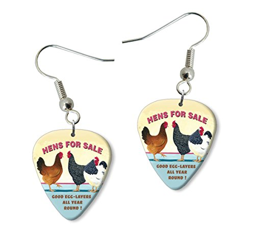 Hens For Sale Martin Wiscombe Guitar Pick Earrings Vintage Retro