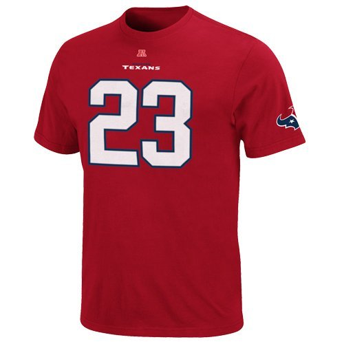 16600b9d Majestic Arian Foster Houston Texans Eligible Receiver Red Name and Number  T-shirt