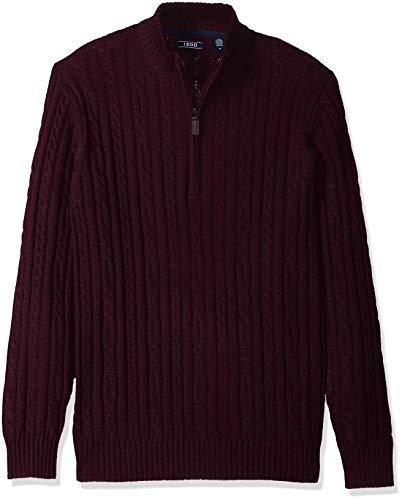 IZOD Men's Premium Essentials Solid Quarter Zip 7 Gauge Cable Knit Sweater, New fig, X-Large