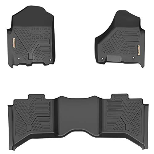 2012 2nd Row Floor Mats - YITAMOTOR Floor Mats for Ram, Custom Fit Floor Liners for 2012-2018 Dodge Ram 1500/2500/3500 Crew Cab Only, 1st & 2nd Row All Weather Protection