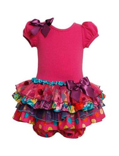 Bonnie Baby Baby Girls' Sparkle Tiered Dress, Fuchsia, 12 Months (Tiered Dress Sparkle)
