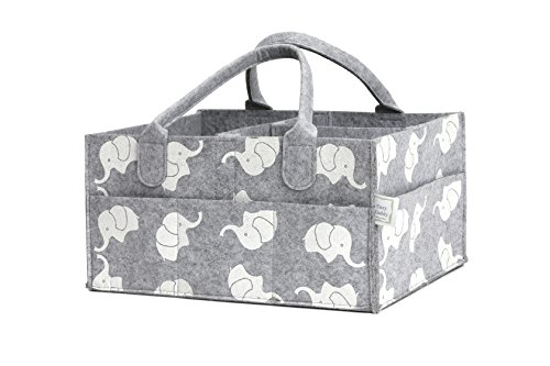 CozyCaddy Grey Diaper Caddy | Store Clothes, Teething Toys and Baby Stuff | Baby Shower Gift | 14'' X 10'' X 7'' Larger Sturdy Bottom | Durable Felt (Grey) by CozyCaddy (Image #9)