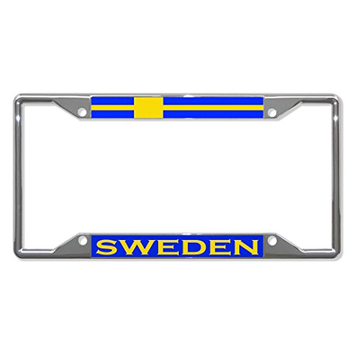 Sweden Flag Country Metal - Tag with 4 holes - License Plate Frame Holder for Home/Man Cave Decor by PrMch (Flag Sweden Country)