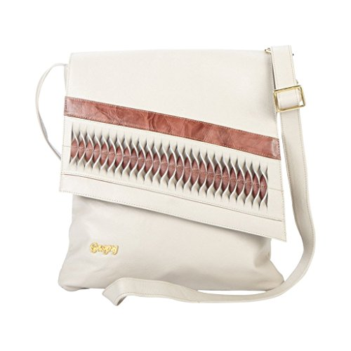Gaspy Jean Women's Crossbody Bag, 100 Percent Colombian Leather (Beige and Marsala) by Gaspy