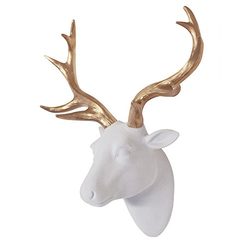 - Animal Head Art Wall Decor Flocking Resin Deer Head With Gold Antlers For Wall Mount Decoration Size 10