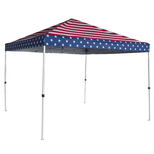 (Palm Springs USA Flag of America Canopy Tent Instant Pop-Up Shelter with Wheeled Carry Bag, 10x10ft )