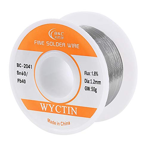 (Solder Wire 60-40 with Rosin Core for Electrical Soldering (1.2mm) 0.11lbs by WYCTIN)