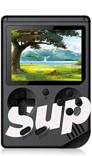MOBIZU Sup Classic 400-in-1 Digital Video Port Game Console with Battery Handheld Console Classic Retro Video Gaming Player Colourful LCD Screen USB Rechargeable Game Best Toy for Kids (Black)