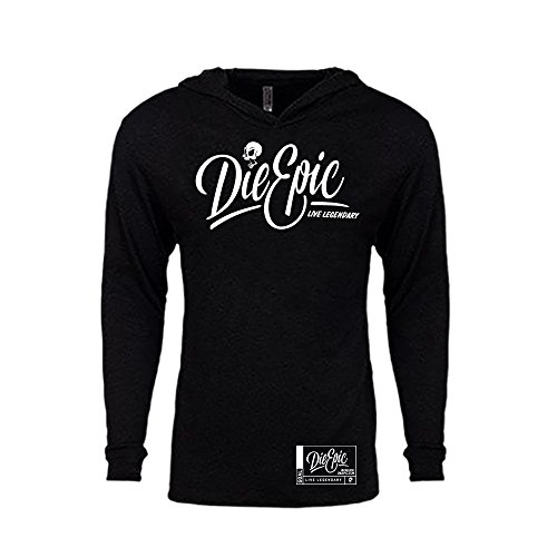 Die Epic Live Legendary Thin Hooded Pullover Bundle - Skydive, Stunt and Adrenaline Life Fan Deal. (Large) -