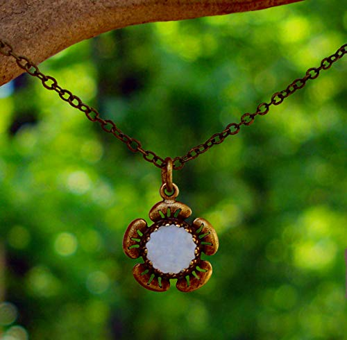 Recycled Vintage 1960's White Milk Glass Cold Cream Jar and Antique Brass Flower Necklace