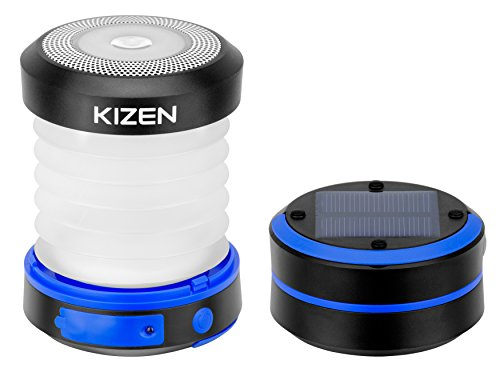 Kizen Solar Powered LED Camping Lantern – Solar or USB Chargeable, Collapsible Space Saving Design, Emergency Power Bank, Flashlight, Water Resistant. For Outdoor Night Hiking Camping Tent Lawn Patio!