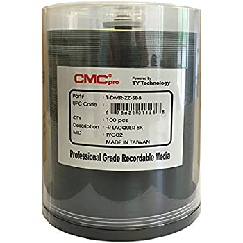 CMC Pro - Powered by TY Technology 8X 4.7GB Blank DVD-R with Silver Thermal Lacquer Top Surface - 100 Disc Cake Box Spinle Pack