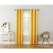 "No. 918 43342 Montego Casual Textured Grommet Curtain Panel, 48 x 84"", Yellow"