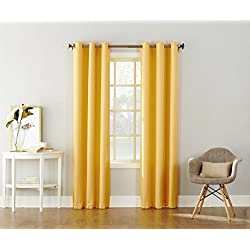"No. 918 Montego Casual Textured Grommet Curtain Panel, Yellow, 48"" x 84"""