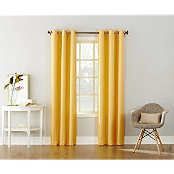 "No. 918 Montego Casual Textured Grommet Curtain Panel, 48"" x 84"", Yellow"
