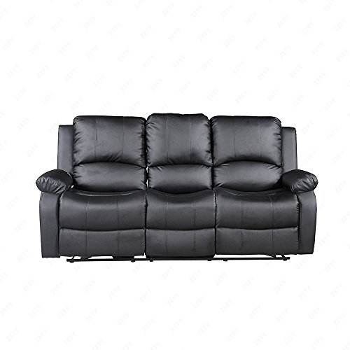 SUNCOO 3-Piece Bonded Leather Recliner Sofa Set with Cup Holder Loveseat Chair Living Room Furniture Set Black