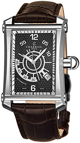 (Charriol Columbus Cintré Convexe Mens Rectangular Automatic Watch - Brown Face with Luminous Hands, Date and Sapphire Crystal - Stainless Steel Brown Leather Band Swiss Rectangle Watch CORLAS.354.A001)
