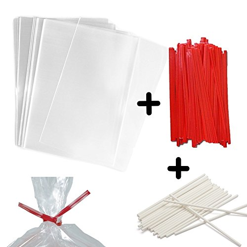 Lollipop Sticks with Cellophane Bags and Ties