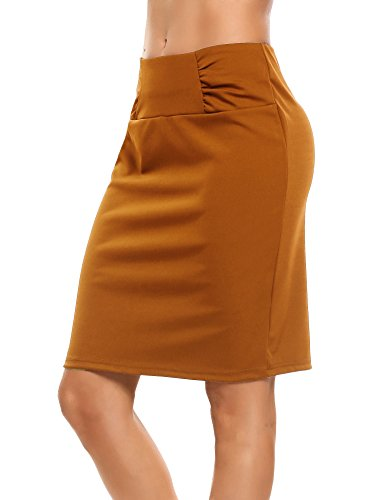 (Zeagooo Petite High Waist Stretch Pencil Skirt with Shirred Waist Detail Brown)