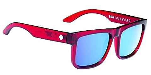Spy Optic Discord Flat Sunglasses, Trans Red,Happy Bronze & Light Blue Spectra, 57 mm - Spy Bronzo Da Sole