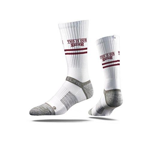 Strideline NCAA Mississippi State Bulldogs Premium Athletic Crew Socks, White, One (Mississippi State Bulldog)