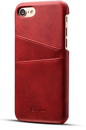 iPhone 8 Card Case, iPhone 7 Case, XRPow Wallet Phone Case Leather Slim Back Case Cover Slim Leather Back Case With Credit Card Holder Red
