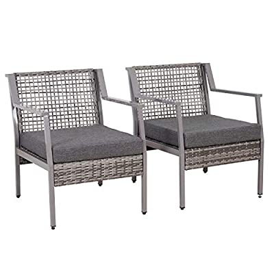 Outsunny 2 x Rattan Patio Dining Armchairs