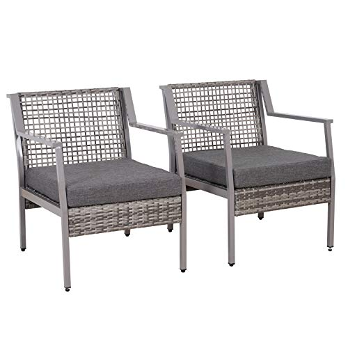 Outsunny 2 Piece Aluminum Rattan Wicker Outdoor Patio Cushioned Chair Furniture Set - Grey