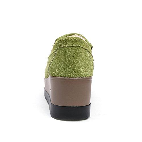 HKR Frauen Slip On Comfort Plattform Keil Arbeitsschuhe Quaste Wildleder Loafers Damen Mokassins Grün-Faux-Pelz gefüttert