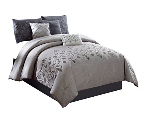 Chezmoi Collection Catalina 7-Piece 2-Tone Gray Embroidered Floral Scroll Pattern Bedding Comforter Set (King), Grey