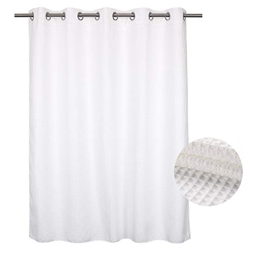 Extra Long Waffle Weave Fabric Shower Curtain No Hooks Needed, Cotton Blend, With Span-in Repalcement Liner - Hotel Grade, Water Repellent, Machine Washable - 71x86, White