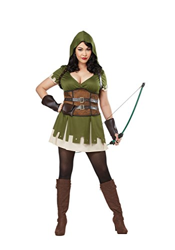 California Costumes Women's Size Lady Robin Hood Adult Woman Plus Costume, Olive/Brown, 2X -