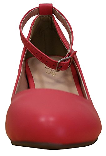 Select Cambridge Pu Coral Round Closed Wedge Buckle Ankle Toe Strappy Womens Wrapped SwqWFwU6g