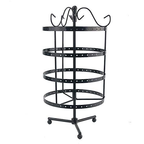 Ogrmar 4 Tiers Rotating Table 72 Pairs Earring Organizer/Earring Holder/Earring Tree/Necklace Earring Stand/Jewelry Display ()